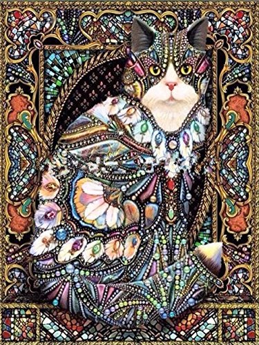 LIPHISFUN New 5D DIY Diamond Painting Flower Cat Full Diamond Mosaic Painting Square Resin Rhinestones Cross Stitch Beautiful Cat Series Set Needlework Home Decor(40x50cm)