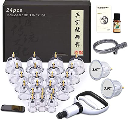 Amazon.com: Cupping Therapy Sets, 24 Cups Professional Chinese Acupoint Cupping Therapy Set with Vacuum Pump for Body Massage, Pain Relief, Physical Therapy–Improve Your Health & Wellness: Health & Personal Care