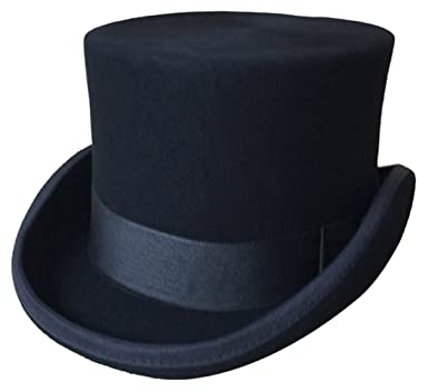 GEMVIE Men s 100% Wool Top Hat Satin Lined Party Dress Hats Derby ... 63e33b22caf