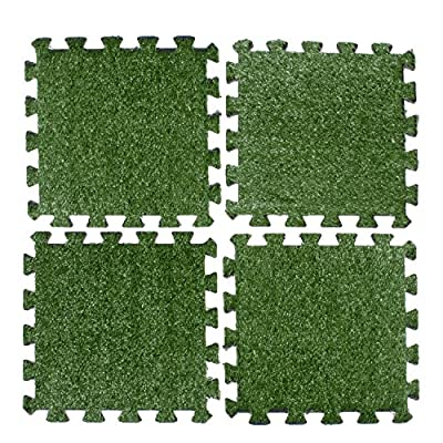 Above Edge Interlocking Grass Deck Tiles: Square Artificial Grass Carpet For Gardens Backyards Outdoor & Indoor Use - Pack Of 9 Synthetic Turf Flooring Mats Low Maintenance And Easy To Install & Clean