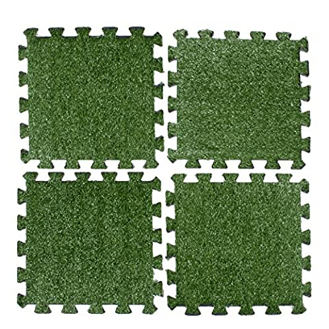 Above Edge Interlocking Grass Deck Tiles: Square Artificial Grass Carpet For Gardens Backyards Outdoor & Indoor Use - Pack Of 9 Synthetic Turf Flooring Mats Low Maintenance And Easy To Install & - Mosaic Outdoor Rug