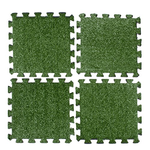 Above Edge Interlocking Grass Deck Tiles: Square Artificial Grass Carpet For Gardens Backyards Outdoor & Indoor Use - Pack Of 9 Synthetic Turf Flooring Mats Low Maintenance And Easy To Install & Clean (Table Diy Mosaic Patio)