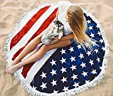 huge tie dye blanket - Melory 2018 New Summer American Flag Printed Round Beach Towels With Tassel Large Oversized Multi-Purpose Beach Throw 59 inch
