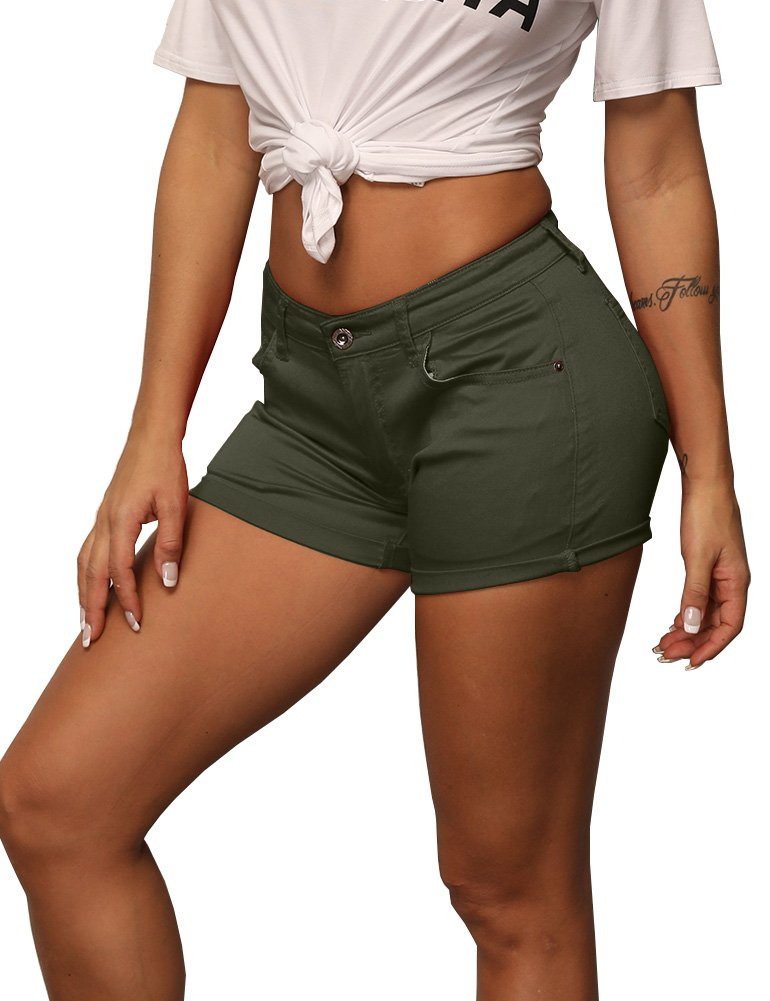 Zaoqee Women's Mid Waist Denim Shorts Summer Hot Sexy Rolled Stretchy Short Jean Pants Army Green M