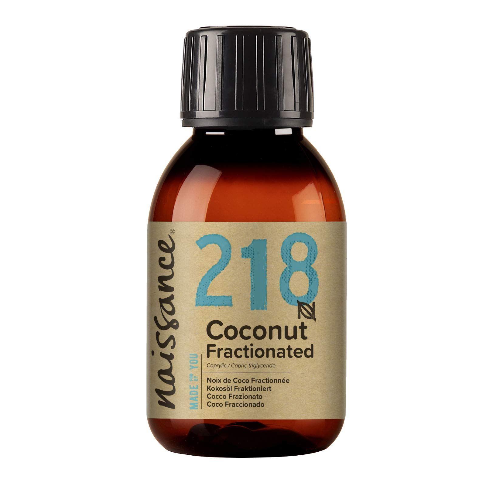 Naissance Fractionated Coconut Oil 4 fl oz - Pure Natural, Vegan, Non GMO, Hexane Free, Cruelty Free - Moisturizing & Hydrating - Ideal for Aromatherapy, Massage and DIY Beauty Recipes