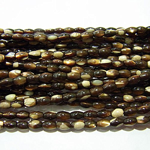 Thetastejewelry 5X8mm Rice Natural Brown Shell Beads Jewelry Making Necklace Mala Healing Power Energy