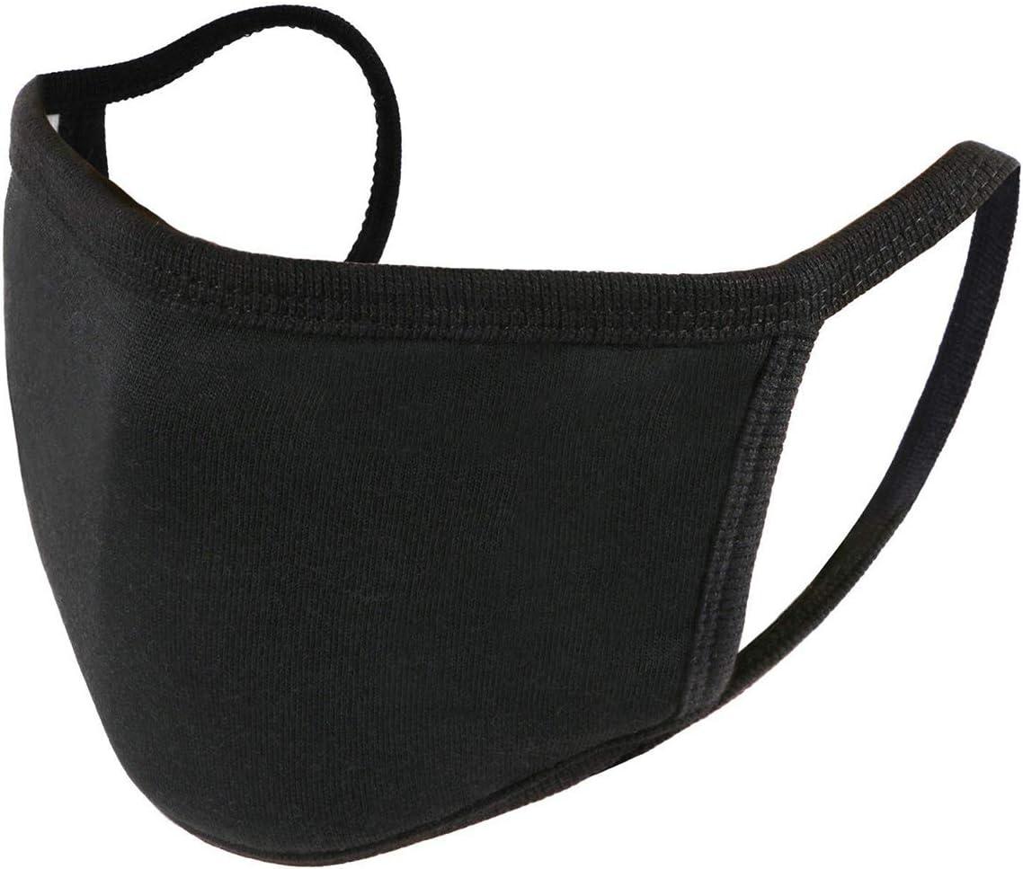 Unime, mascarillas protectoras para la cara, unisex, color negro, de algodón, lavable, reutilizable