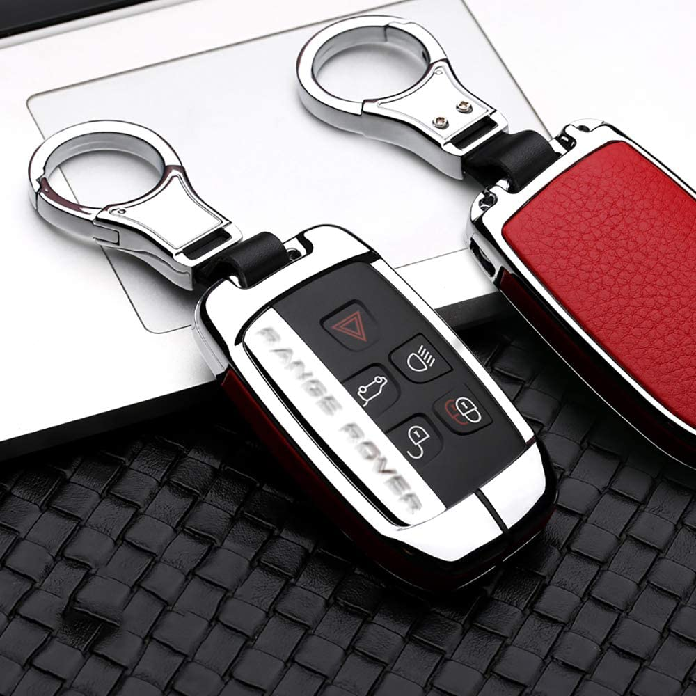 Chrome Steel and Leather 1 Car Key Chain Compatible with Land Rover Double Faced Decorated in Both Sides