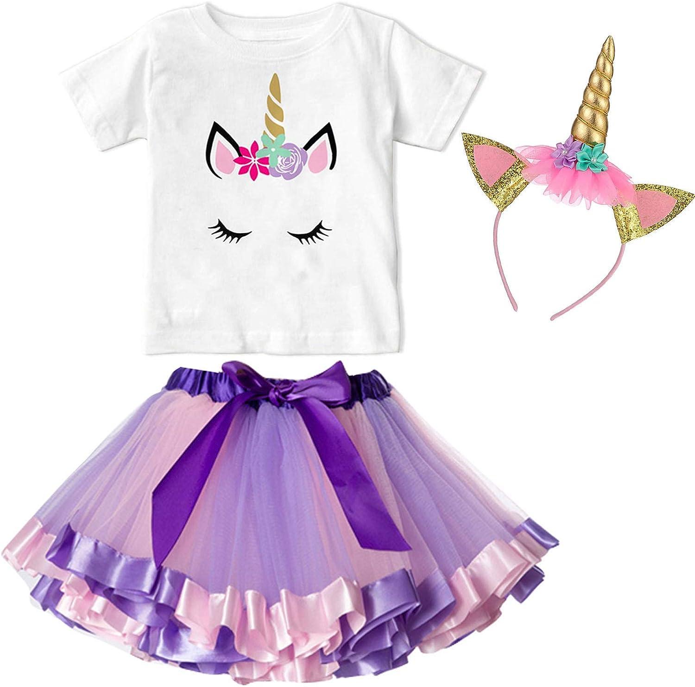 Kopfbedeckung 3Pcs Sommer Outfit f/ür Kinder 1-7 Jahre NNJXD kleine M/ädchen Einhorn Baumwoll-T-Shirt Regenbogen Tutu-Rock