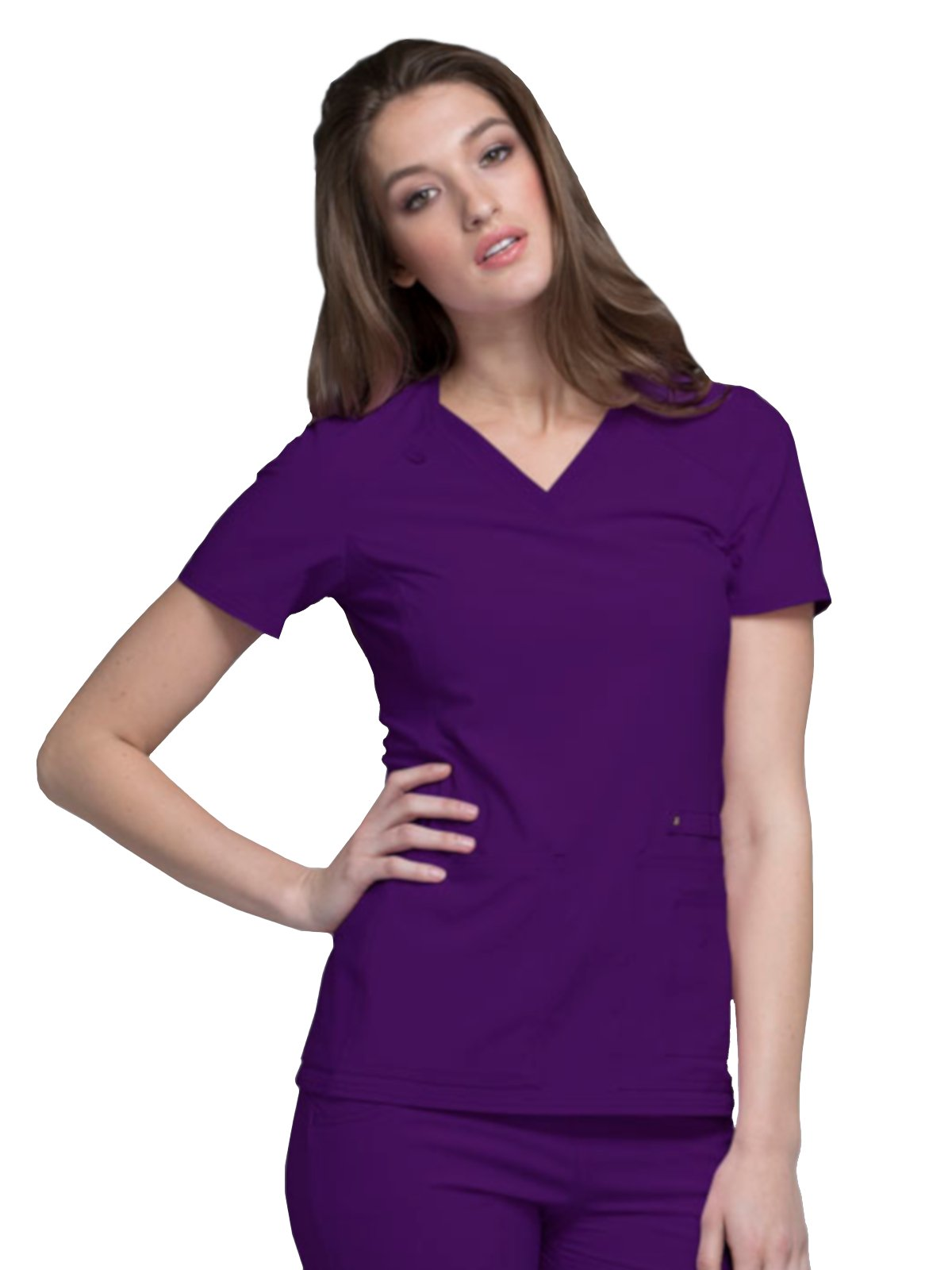 Cherokee iFlex CK605 V-Neck Top Eggplant 2XL by Cherokee