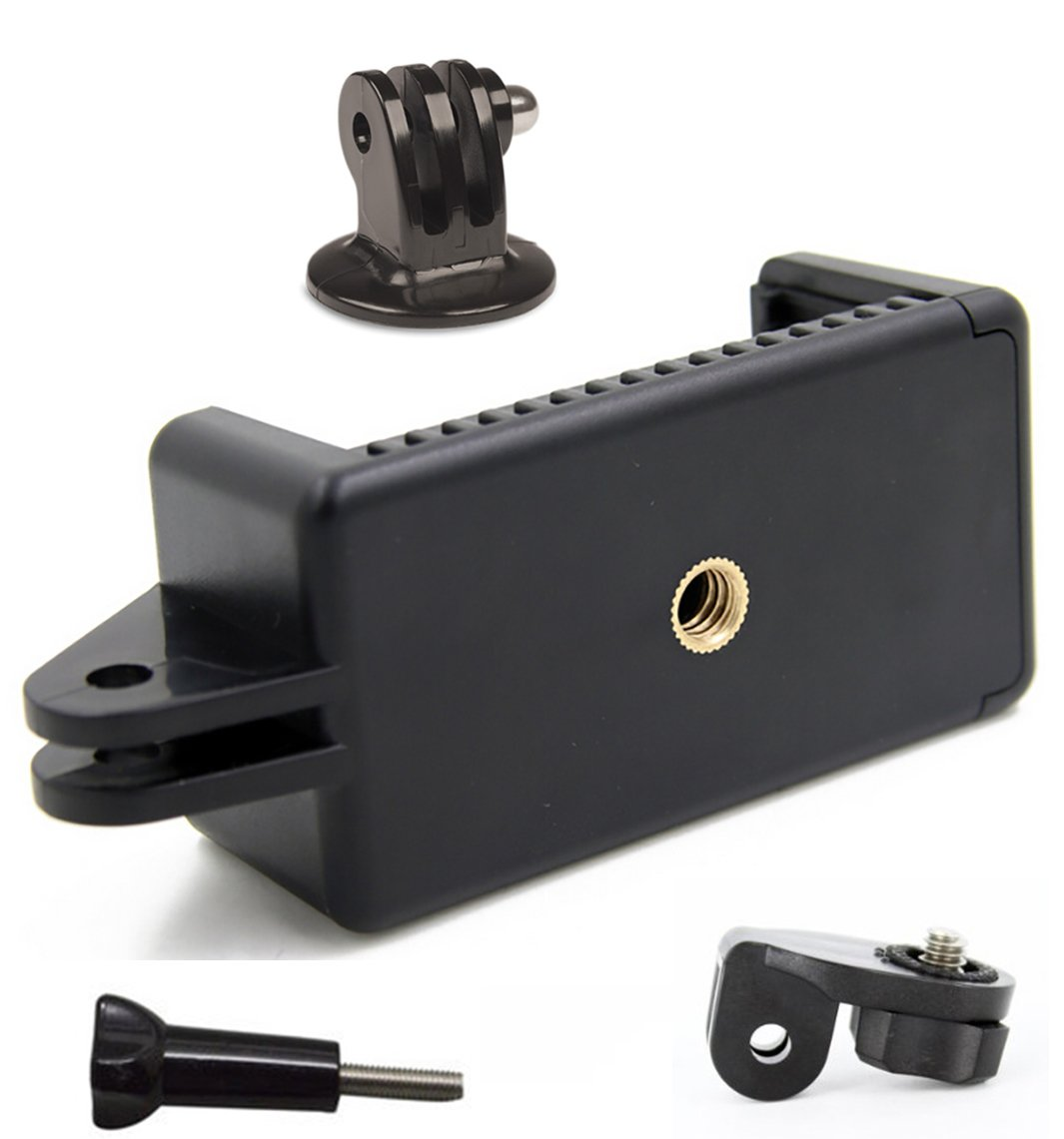 Livestream Gear | Universal Smartphone Holder w/GoPro Style Mount Attachment, Tripod Adapter, Screw Adapter, & Screw. Connect Your Phone to Any GoPro Mount, or Tripod.