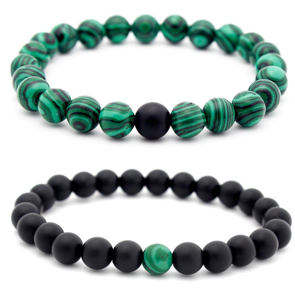 SUNTA 2 Pack Men Women Couples Bracelets 8mm Matte Black Matte Stone Malachite Beads Bracelet Energy Stone Jewelry Sunta Industrial co. ltd
