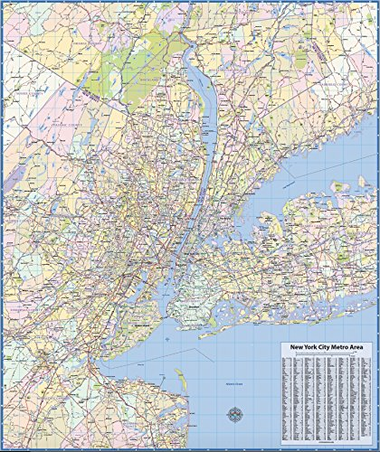 New York Metro Region Laminated Wall Map (New Jersey State Map With Cities And Counties)