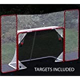 EZGoal Hockey Backstop Kit with Targets, Red/White