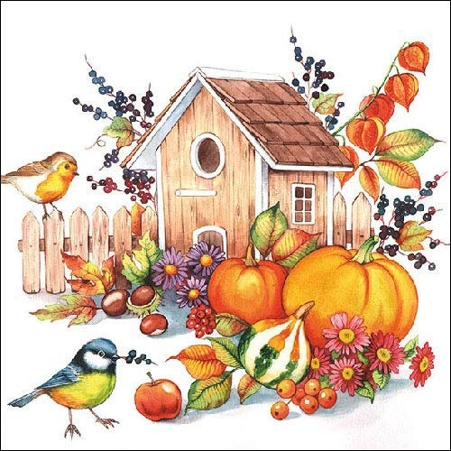 4 Paper Napkins for Decoupage - 3-ply, 33 x 33cm - Autumn Birdhouse (4 Individual Napkins for Craft and Napkin Art.)