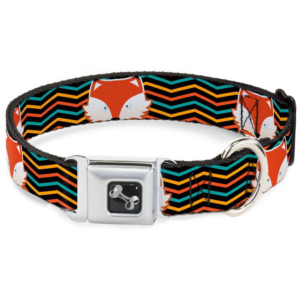 Buckle-Down Fox Face Stripes Black Multi color Dog Collar Bone, Small 9-15