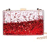 Jevenis Womens Transparent Sequins Chain Clutch Evening Handbag Party Cross-body Purse (Red)