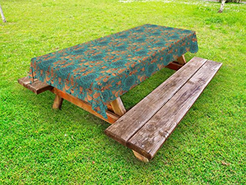 (Ambesonne Vintage Outdoor Tablecloth, Nature Scroll Art Pattern with Birds Flowers Teapot and Cups, Decorative Washable Picnic Table Cloth, 58 X 120 inches, Turquoise Pale Caramel Dark Brown)