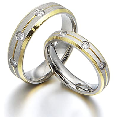 Gemini Free Engrave His & Her's Matching CZ Diamonds Titanium Anniversary Wedding Band Couple Ring Set, UK Size H to Z6