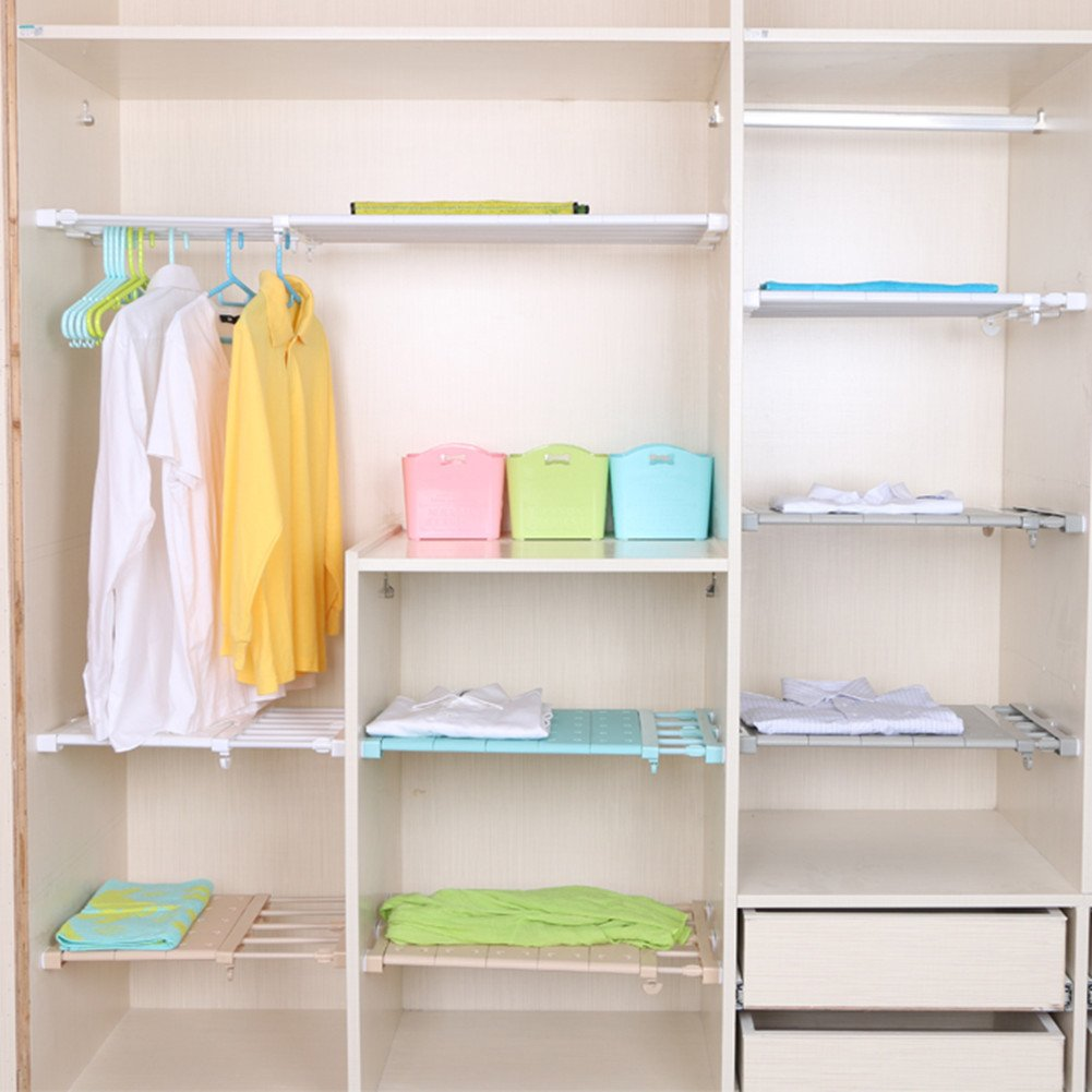 Csstel Adjustable Storage Rack Shelf, Retractable Layed Separator Shelf with 3 Pinch Plates for Wardrobe, Cupboard, Kitchen, Bathroom, Bookcase Compartment Collecting/38-60cm (White)