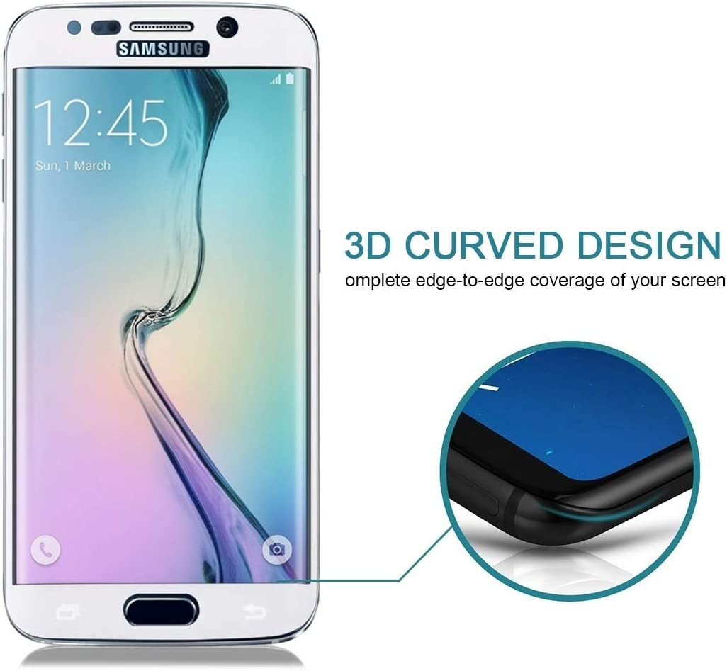 Screen Protector Film Color : White Black LGYD 25 PCS for Galaxy S6 Edge Plus // G928 0.3mm 9H Surface Hardness 3D Curved Surface Full Screen Cover Explosion-Proof Tempered Glass Film