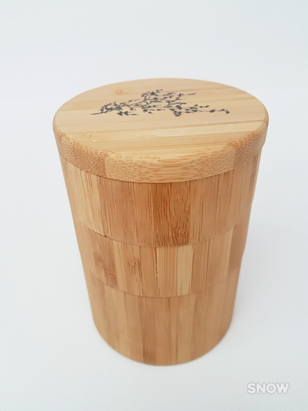 Organic Bamboo Salt Box, Salt Jar , Etched Bamboo Container With Magnetic Lid For Secure Storage (3- Tiers Cherry Blossom)