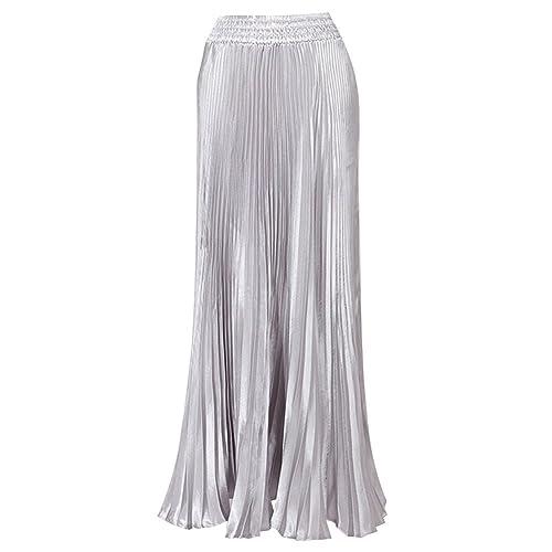 Juleya Mujeres metálico lustre brillante retro faldas plisadas