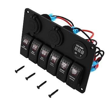 6 Gängige Auto Boot Marine LED Wippschalter Switch Panel Leistungsschalter