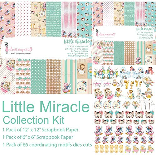 Pink Collection Birth Announcement - Dress My Crafts Collection Kit -little Miracle