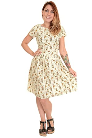 150c3fd55954 Image Unavailable. Image not available for. Colour: Ladies Run & Fly Antique  50s 60s Retro Alice In Wonderland Tea Party Dress