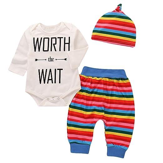 3044f98f82ff29 Borlai Newborn Baby Clothes Letter Printed Long Sleeve Romper + Rainbow  Pants + Hat (3