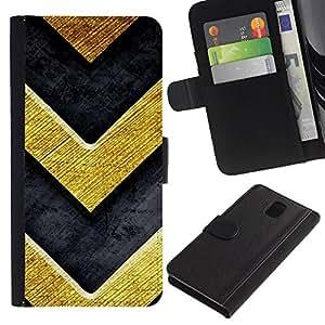KingStore / Leather Etui en cuir / Samsung Galaxy Note 3 III / Chevron Bling del oro de la textura de metal cepillado