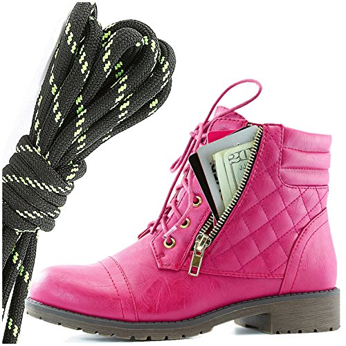 DailyShoes Womens Military Lace Up Buckle Combat Boots Ankle High Exclusive Credit Card Pocket, Black Lime Hot Pink Pu