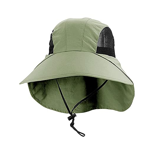 fd2e40ee915 Enimay Large Juniper Fishing Style Bucket Hat Neck Flap Side Mesh Panels  Olive One Size