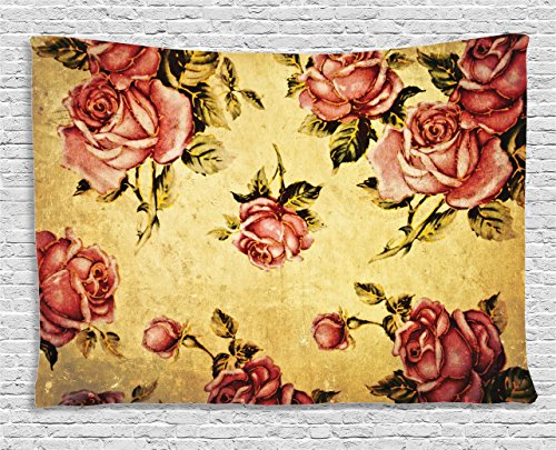 - Ambesonne Rose Tapestry, Old Fashioned Victorian Style Rose Pattern with Dramatic Color Boho Art Design, Wall Hanging for Bedroom Living Room Dorm, 60 W X 40 L Inches, Mustard Pink