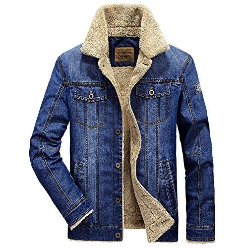 [Mens Plus Velvet Warm Fur Collar Slim Fit Denim Jacket Coat Tops for Winter] (Mens Denim Jacket Coat)