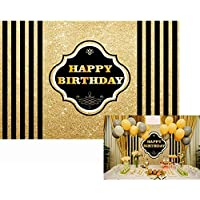 Allenjoy 7x5ft Polyester photography backdrops Adults children Birthday party banner Black and Gold Stripes Glitter glamour Sparkle photo studio booth background decoration