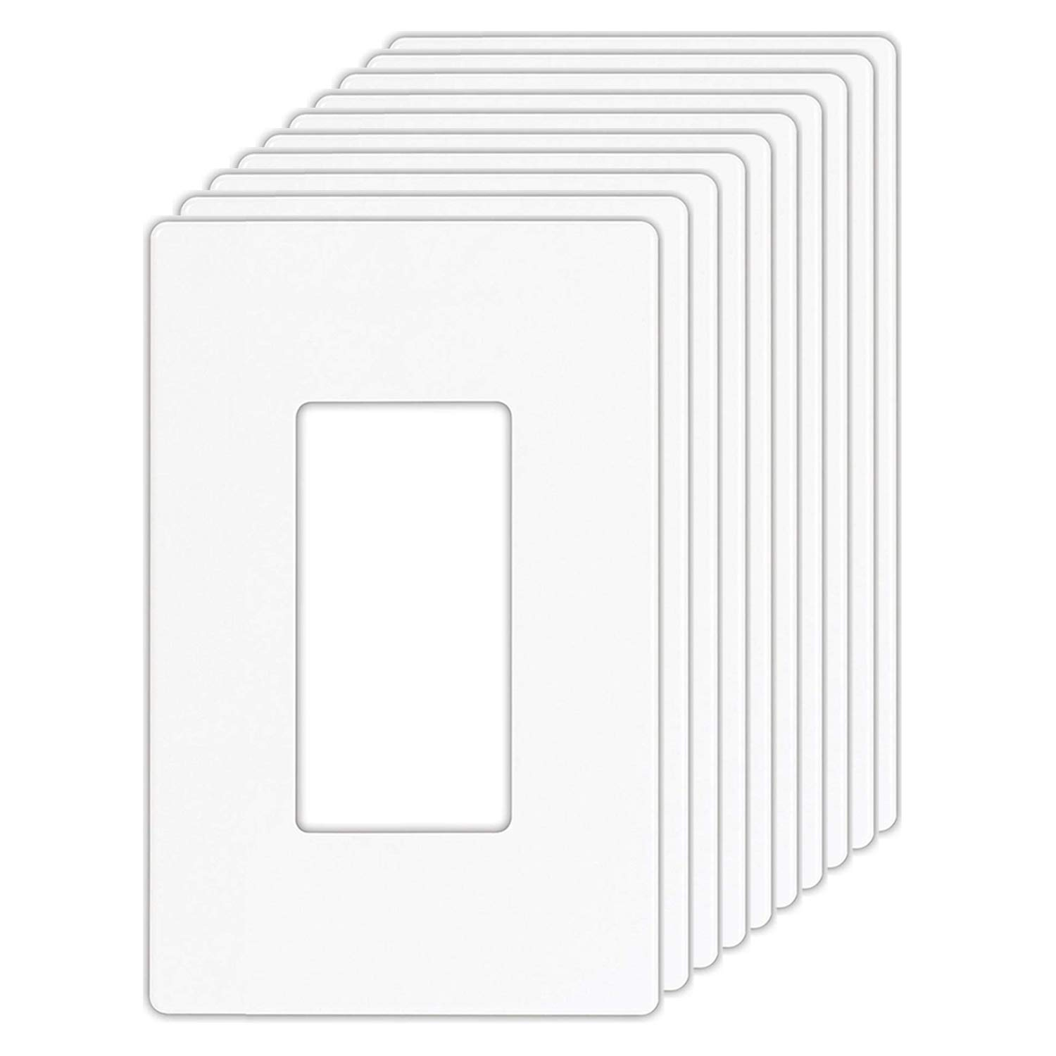 [10 Pack] BESTTEN USWP4 Series, Mid-Sized 1-Gang Screwless Wall Plate, Outlet Cover for GFCI, Decor Receptacle and Light Switch, Child Safe, Unbreakable PC, UL Listed, White