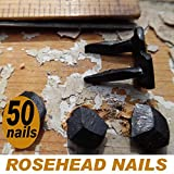 (50) 5/8'' Steel Decorative Wrought Head Nails with Black Oxide Finish. (Small, black)