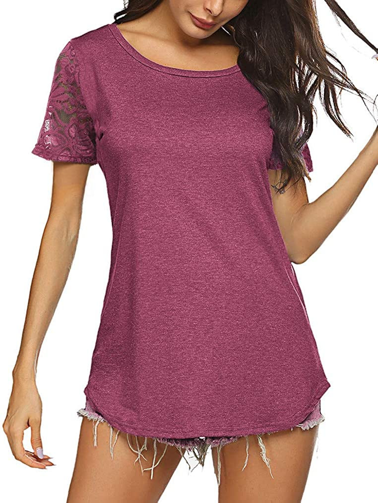 Women's Floral Lace Tops Short Sleeve T Shirt Round Neck Loose Summer Tunic Blouse