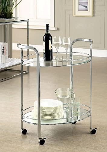 Furniture of America Loule Chrome Serving Kitchen Carts Islands