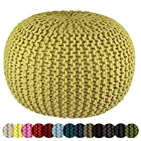 Cotton Craft - Hand Knitted Cable Style Dori Pouf - Green - Floor Ottoman - 1...