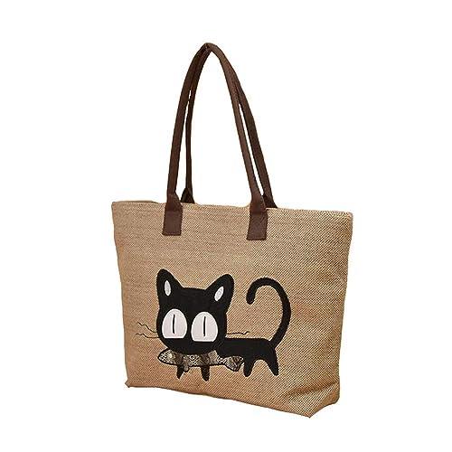 Keepop Bolsos de Mujer, Bolso de lona Dibujos Animados Gato Comer Pescado Bolso Bolsa de