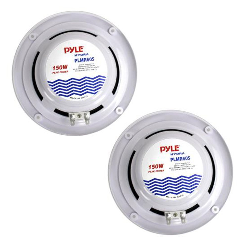 """Pyle 6.5"""" Dual Marine Speakers - 2 Way Waterproof and Weather Resistant Outdoor Audio Stereo Sound System with 150 Watt Power, Polypropylene Cone and Cloth Surround - 1 Pair - PLMR60S (Silver)"""