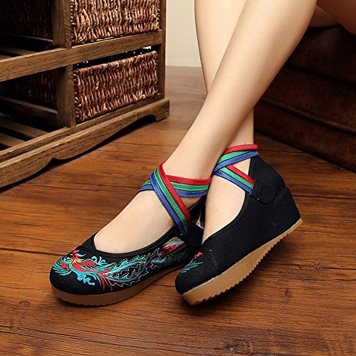 Shoes Oxfords Women's Jane Traditional Dress Casual Black Mary Platform Embroidery EqC5nftnw