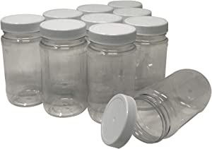 CSBD 8 Oz Plastic Mason Jars with Screw On Lids, No BPA PET Storage Containers for Dry Goods, Arts and Crafts, Herbs, Spices or DIY Projects, Bulk, 10 Pack