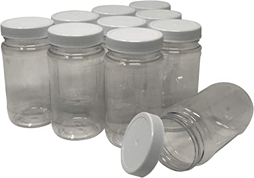 Csbd 16 Oz Clear Plastic Jars With Ribbed Liner Screw On Lids Pet Pla Bpa Free