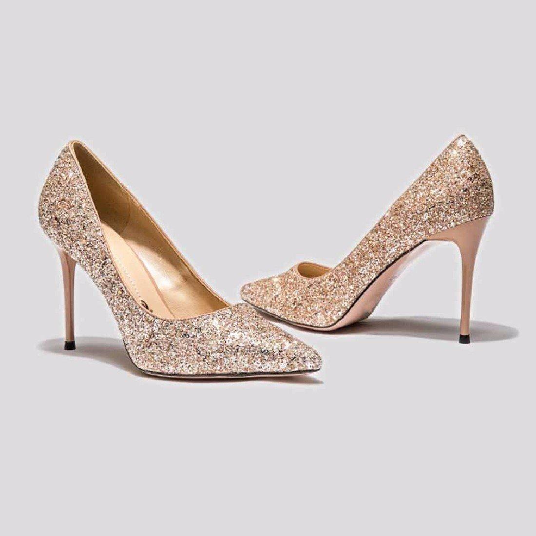 QPSSP Hat Schuhe, High Heels, High Heels, Schuhe, Einzelne Schuhe, Heels, Damenschuhe. Golden f919b2