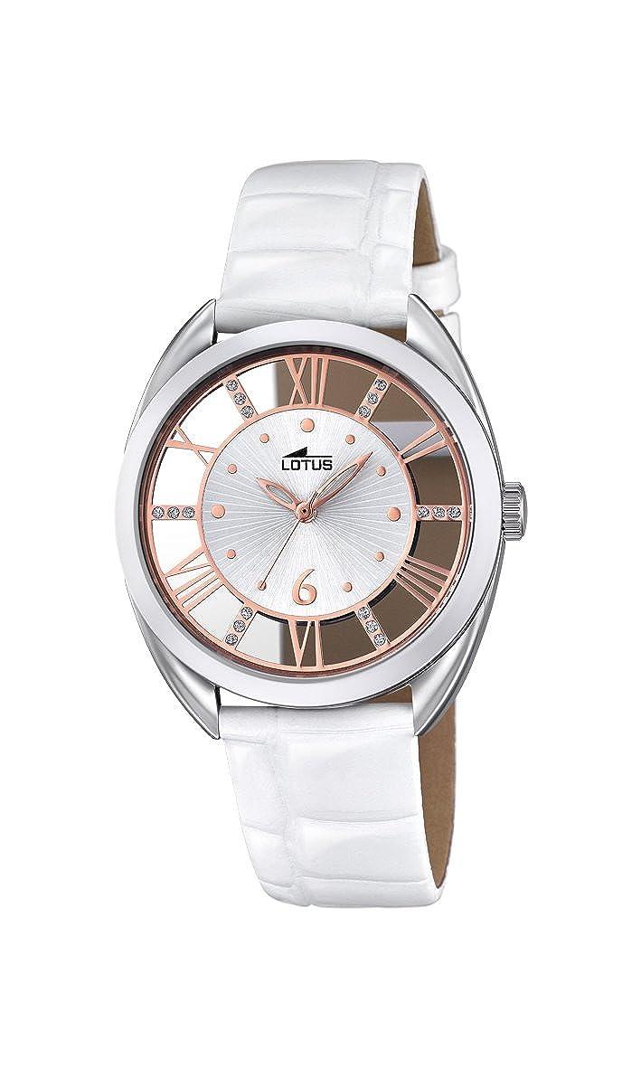 62c3aeaa3385 Reloj Cuarzo Lotus para Mujer con Plata Y Blanco Cuero 18224 1  Amazon.es   Relojes