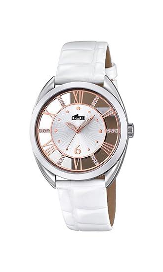 ba4255cb3a50 Reloj Cuarzo Lotus para Mujer con Plata Y Blanco Cuero 18224 1  Amazon.es   Relojes